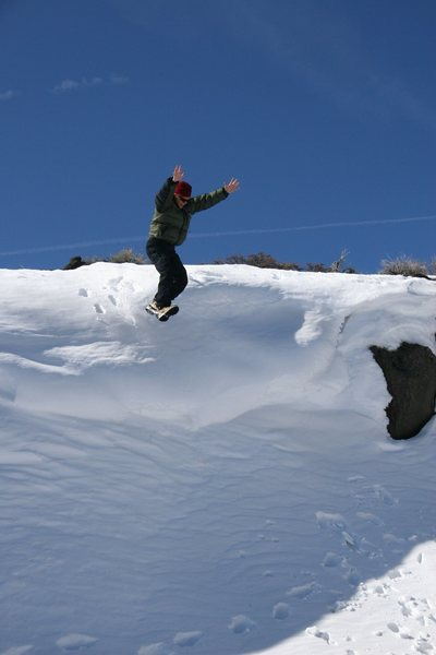 The Ravine in winter conditions, still fun, but not a boulder problem in sight!