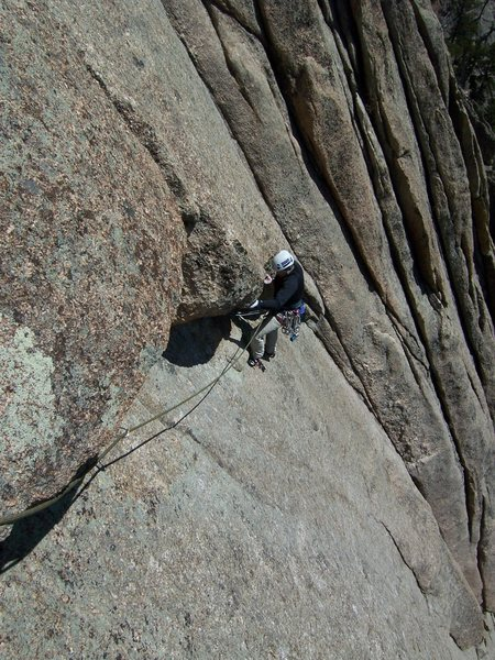 Rock Climbing Photo: Joe following the exciting roof traverse on P2.