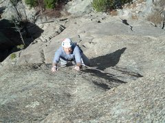 Rock Climbing Photo: Joe on one of the many enaging face traverses on F...