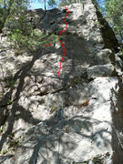 Rock Climbing Photo: The red horizontal line indicates a ledge that is ...