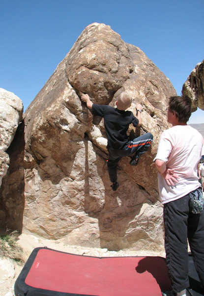 Rock Climbing Photo: Ethan on a V2 at Ibex.