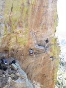 Rock Climbing Photo: Fun at the Rampart.  Climber crossing the Draw Bri...