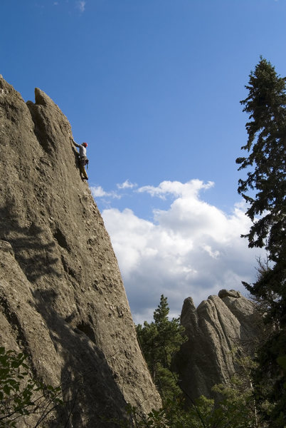 Rock Climbing Photo: John Jacob Shaw cruises the arete of Lander Turkey...