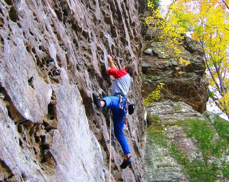 Rock Climbing Photo: Plates, yes. But steepness delivers a pump at the ...