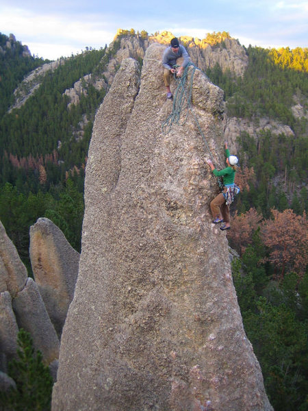 Rock Climbing Photo: Keen and Tara topping out on The Tricouni Nail
