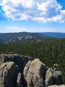 Rock Climbing Photo: Sasha Cherry clambering towards the summit of Spir...