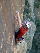 Rock Climbing Photo: Alex slotting some gear just above the roof near t...