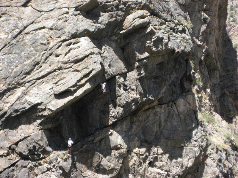 Rock Climbing Photo: Unknown climber leading out of the Ashtray ledge.