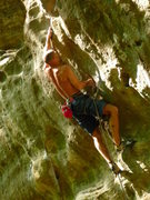 Rock Climbing Photo: Entering the Crux moves on Frizzle Fry!