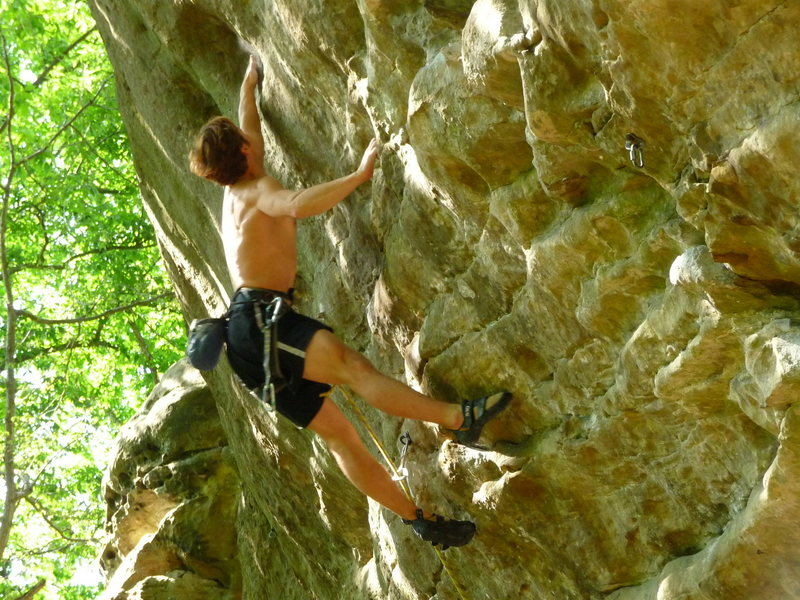 "Rock Climbing Photo: Rob throwing BIG on ""Red Corvette"" .13a"