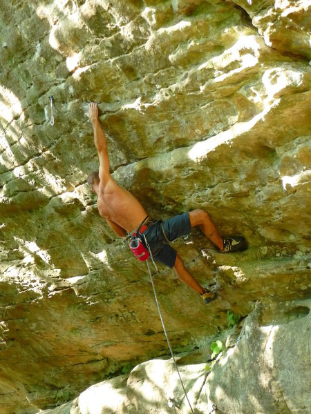 """Rock Climbing Photo: Entering the head wall on """"Red Corvette""""..."""