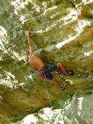 "Rock Climbing Photo: Entering the head wall on ""Red Corvette""..."