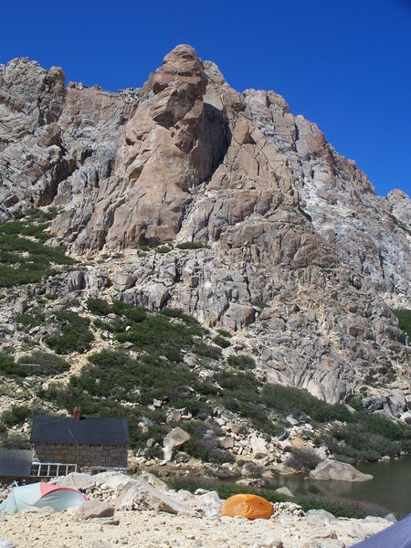 Rock Climbing Photo: Aguja Frey rising behind Refugio Frey.  The route ...