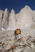 Rock Climbing Photo: My wife and I in front of Mt. Whitney (on our way ...