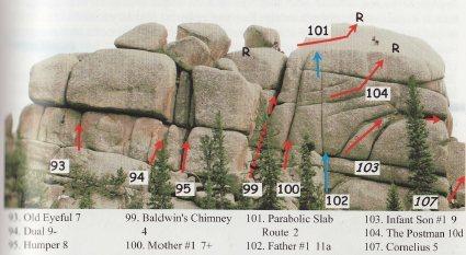 "Dual, route 94 from Robert Kellman's ""Rock Climbing at Vedauwoo, Wyoming"""