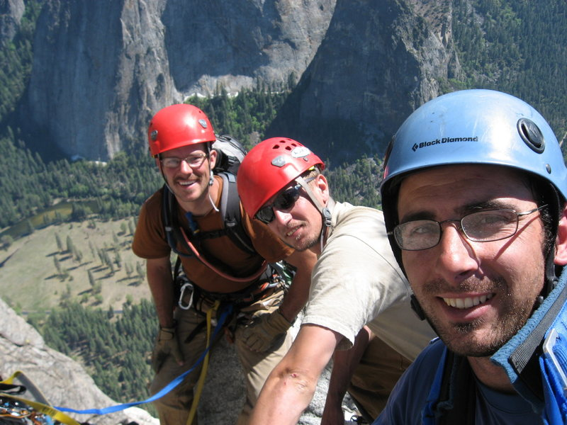 On the summit of El Cap with Jesse k and Chip J. after doing Lurking Fear.