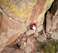 Rock Climbing Photo: Ted Lanzano at the crux of Superfly. Photo by Cody...