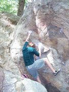 "Rock Climbing Photo: Alex on ""Power and Grace"" fixing his fee..."