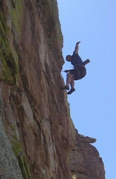 """EFR quits Flogging the Bishop (5.12) in his morning warm-up two days after sending his """"Kings Arete"""" (5.13).<br> <br> (video freeze frame)"""