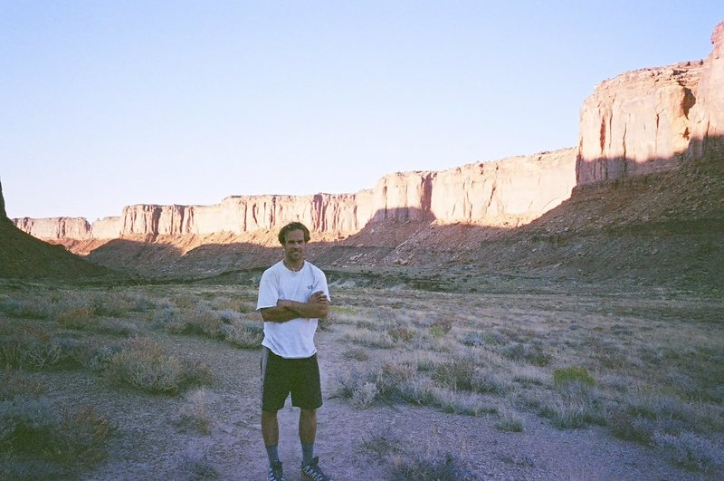 Me on the approach to Moses, Canyonlands, NP.  We didn't have 4WD so we hiked in from the Alcove Spring trailhead -- making what is normally one of the shortest desert tower approaches one of the longest.  Nevertheless, it was a perfect day.