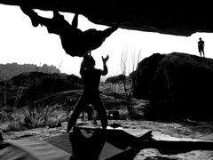 Rock Climbing Photo: Photograph of person spotting another person while...
