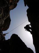 Rock Climbing Photo: Stefan making the escape.