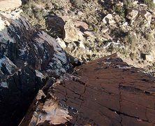 Rock Climbing Photo: Looking down the second pitch.  The orientation of...