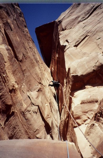 Rock Climbing Photo: Lance on the crux second pitch of Poseidon Adventu...