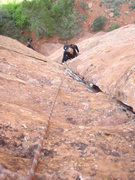 Rock Climbing Photo: Center route on Rooster Pinnacle, Kolab Mts Zion