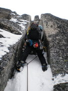 Rock Climbing Photo:  Entering the chimney system on Bug Spire. Note th...
