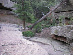 Rock Climbing Photo: Looking back down on the base.  You can see the 2 ...