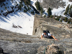Rock Climbing Photo: Frank tops out in early season ascent.