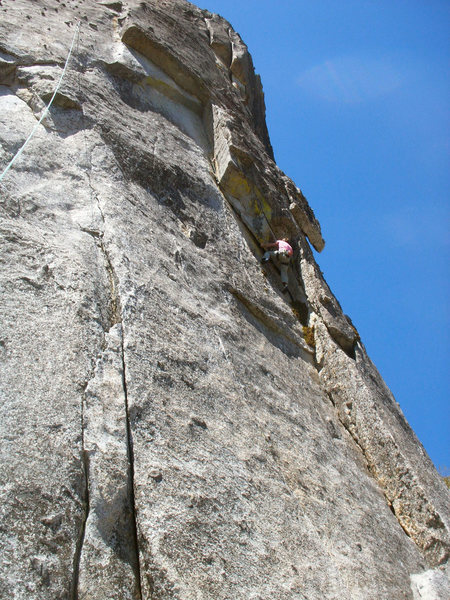 Rock Climbing Photo: Mike moves toward the crux on a beautiful spring d...