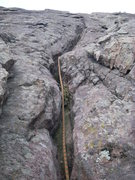 Rock Climbing Photo: Crack. The crux is near top of the visible rock at...