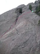 Rock Climbing Photo: Blue line, as seen from the summit of first sectio...