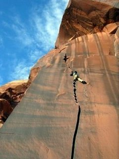 Rock Climbing Photo: Praying the edge doesn't cut me in half if I fall
