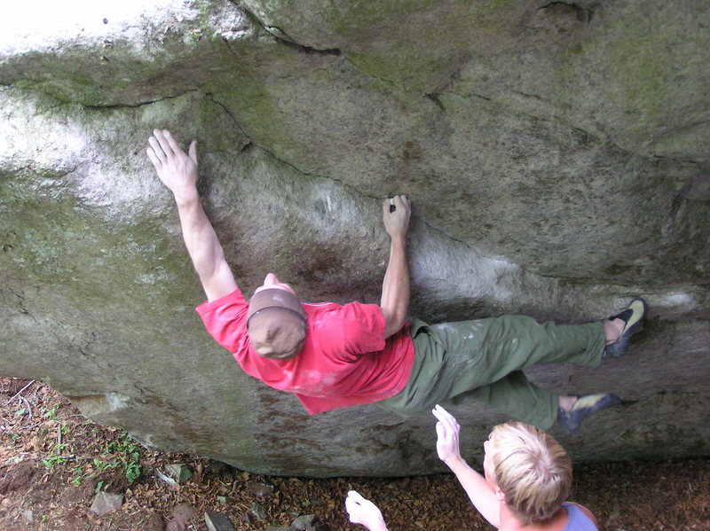 Jim Merli manhandling the crux