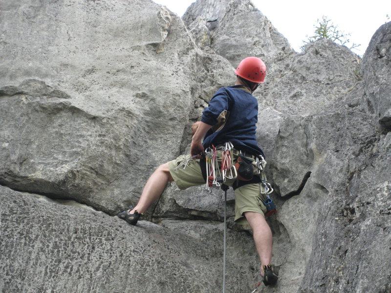 Chuck Ashcraft near top of climb.