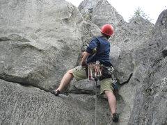 Rock Climbing Photo: Chuck Ashcraft near top of climb.