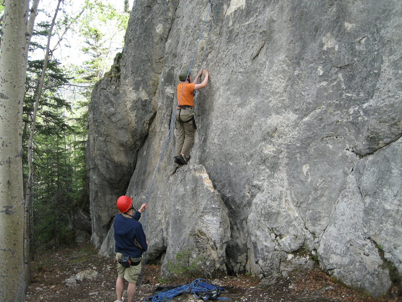 Brian Birkholtz on top rope. Chuck Ashcraft on belay.