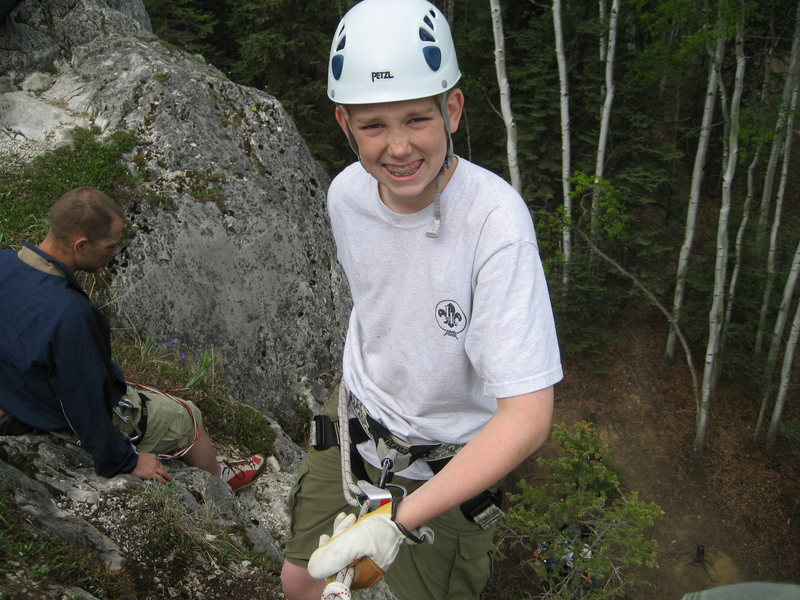 Devin Davis on rappel at the First Crag.