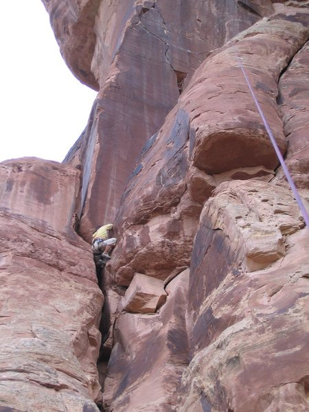 Rock Climbing Photo: Cleaning up the first pitch.