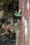 Rock Climbing Photo: Isaac Therneau redpointing the Flake Route. May '0...