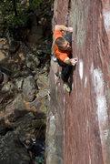 Rock Climbing Photo: Flake Route. Crux. Photo: Darin Limvere.