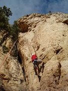 Rock Climbing Photo: Andre moving past clip 1.