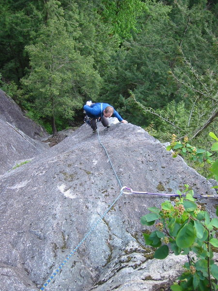 Brad almost done Quickdraw.  The combination of body english, arete pinching and smearing required by this route is evident.