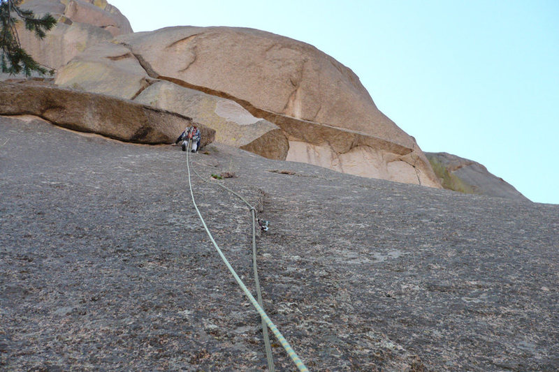 Andy Beekman leading the second pitch. I was very happy to be wearing my helmet, Andy cut a few small rocks loose and they pelted my head.