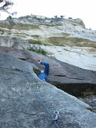 Rock Climbing Photo: Brad leading the second pitch of Quickdraw.  As th...