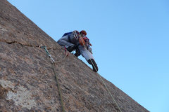 Rock Climbing Photo: Andy Beekman leading the very exciting 4th pitch.