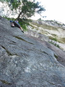 Rock Climbing Photo: The last moves of Quickdraw.  The long distance be...